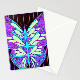 PURPLE-AQUA BUTTEREFLY BLACK ABSTRACT ART Stationery Cards