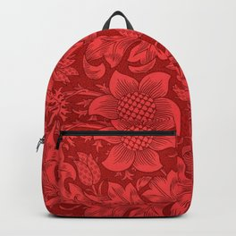 William Morris Red Tuscan Sunflower Textile Floral Pattern Backpack
