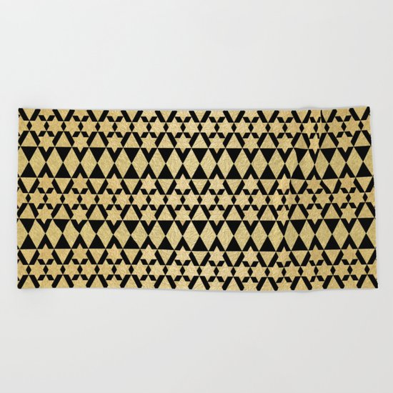 Black and Gold Geometric Pattern 4 Beach Towel