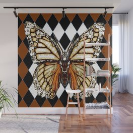 BLACK HARLEQUIN PATTERNED BROWN-WHITE  BUTTERFLY Wall Mural
