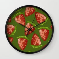 strawberry Wall Clocks featuring Strawberry by Julia Badeeva