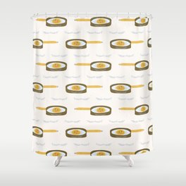 Cute vector pancake day frying pan illustration. Shower Curtain