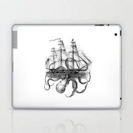 Octopus Attacks Ship on White Background Laptop & iPad Skin
