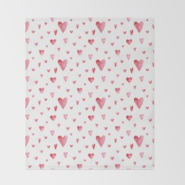 Watercolor print with hearts Throw Blanket