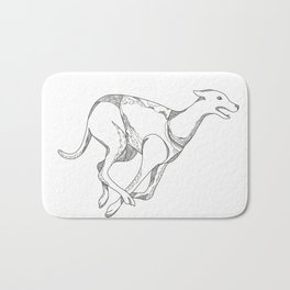 Greyhound Running Doodle Art Bath Mat