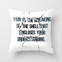 pain Throw Pillows featuring Pain by fariedesign