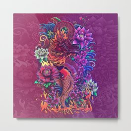 Flowers and Flames Metal Print