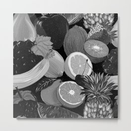 Galactic Fruits - B&W Metal Print
