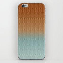 Light Rust and Turquoise Graphic Herringbone Weave Pattern iPhone Skin
