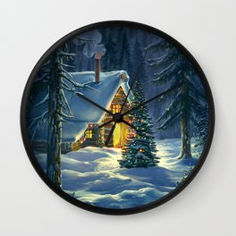Christmas Snow Landscape Wall Clock