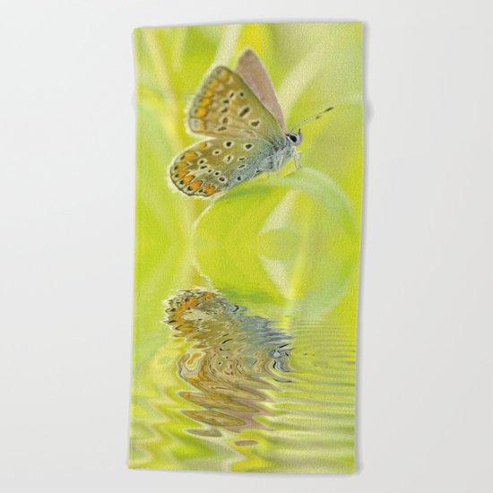 zen style butterfly green outdoor Beach Towel