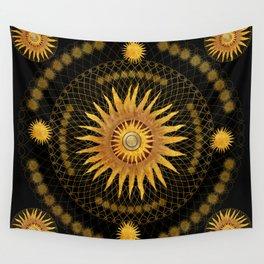 """Black & Gold Vault Mandala"" Wall Tapestry"