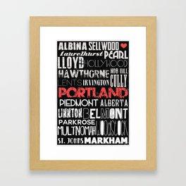 Portland Oregon Neighborhoods in Black and White Framed Art Print
