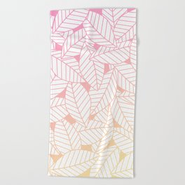 Leaves in Sunset Beach Towel