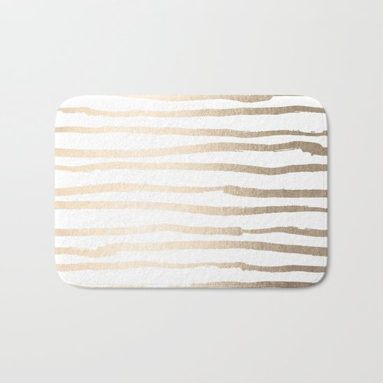 White Gold Sands Painted Lines Bath Mat