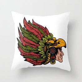 Indian Chieftain Head Illustration Throw Pillow