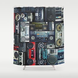 Vintage wall full of radio boombox of the 80s Shower Curtain