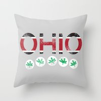 ohio state Throw Pillows featuring Ohio by Amanda Pavlich