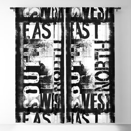 East South North West Black White Grunge Typography Blackout Curtain