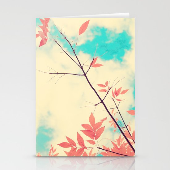 Pink fall leafs on retro vintage sky  Stationery Cards