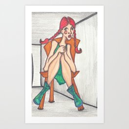 Girl with Red hair in a gray room Art Print