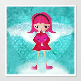 Pink angel - L'ange rose Canvas Print