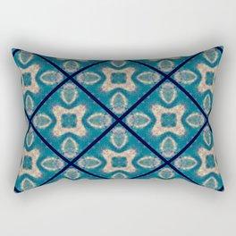 Teal Tile Mosaic Flower Abstract Rectangular Pillow