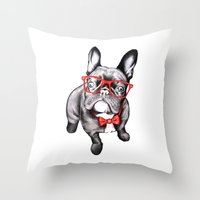 dog Throw Pillows featuring Happy Dog by 13 Styx