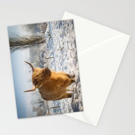 Highland Cow in the snow Stationery Cards