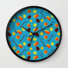 Orange autumn leaves and trees on sky blue background Wall Clock
