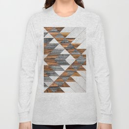 Urban Tribal Pattern 12 - Aztec - Wood Long Sleeve T-shirt