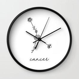 Cancer Floral Zodiac Constellation Wall Clock