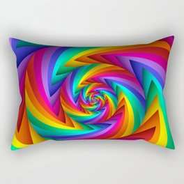 Psychedelic Rainbow Fractal Spiral  Rectangular Pillow