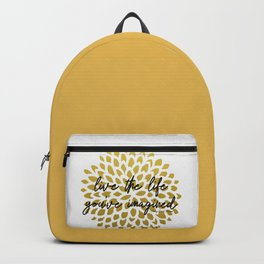 Live The Life You've Imagined Dahlia Gold Foil Backpack