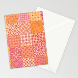 25 Designs Patchwork Tiles in Orange Pink and Yellow Stationery Cards