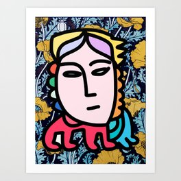 Mythologic Graffiti Pop Art Girl With Flowers  Art Print