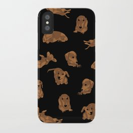 Short Haired Dachshund Pattern iPhone Case