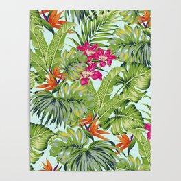 Bird of Paradise Greenery Aloha Hawaiiana Rainforest Tropical Leaves Floral Pattern Poster