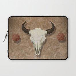 Bison Skull with Rose Rocks Laptop Sleeve