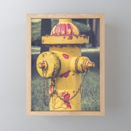 Peeling Eddy Valve Fire Hydrant Yellow Clow Fire Plug Framed Mini Art Print