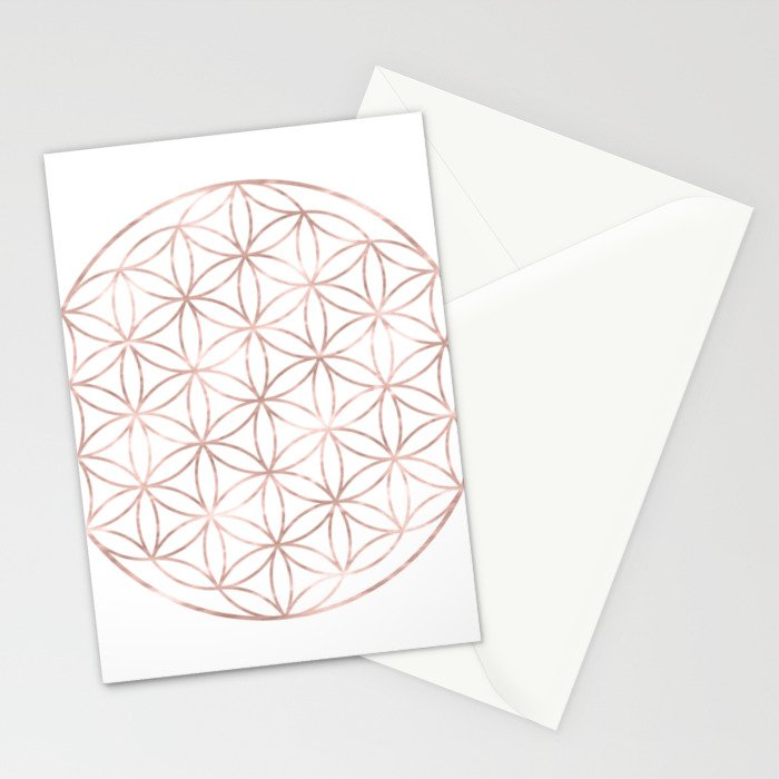 Mandala Rose Gold Flower of Life Stationery Cards