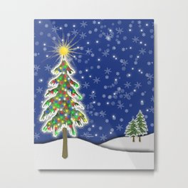 Lighted Christmas Tree at Night with Snowflakes Metal Print