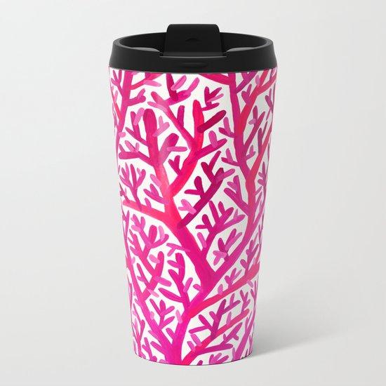Fan Coral – Pink Ombré Metal Travel Mug