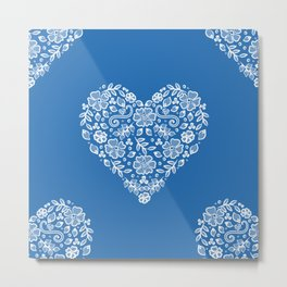 Azure Strong Blue Heart Lace Flowers Metal Print