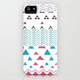 Watercolor hand painted pink blue black tribal geometrical iPhone Case
