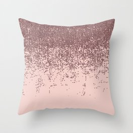 Speckled Rose Gold Glitter on Blush Pink Throw Pillow