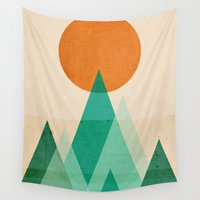 mountains Wall Tapestries featuring No mountains high enough by Picomodi