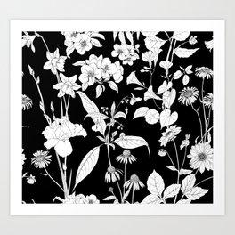 Black beautiful flowers Art Print