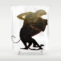 hercules Shower Curtains featuring Hercules and The Nemean Lion by taiche