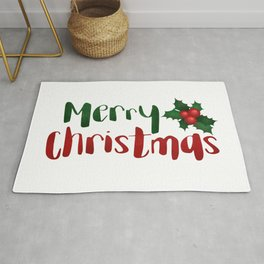 Merry Christmas | Red And Green Holly Rug